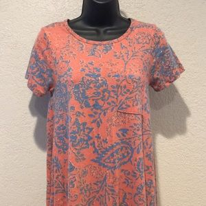 LulaRoe Carly Dress XXS Heathered Red Floral Vines